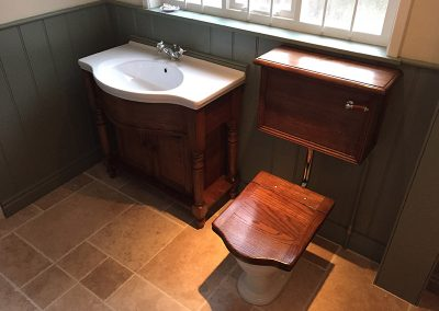 Vintage Bathroom Cabinet with Throne Toilet Seat
