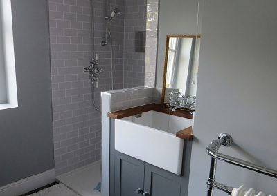 Gorgeous Traditional Bathroom with Belfast Sink and Towel Heater