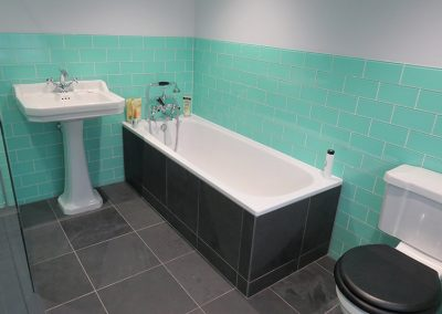 Modern Bath with Colourful Tiles