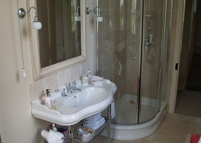 Traditional Bathroom with Free Standing Sink & Modern Shower
