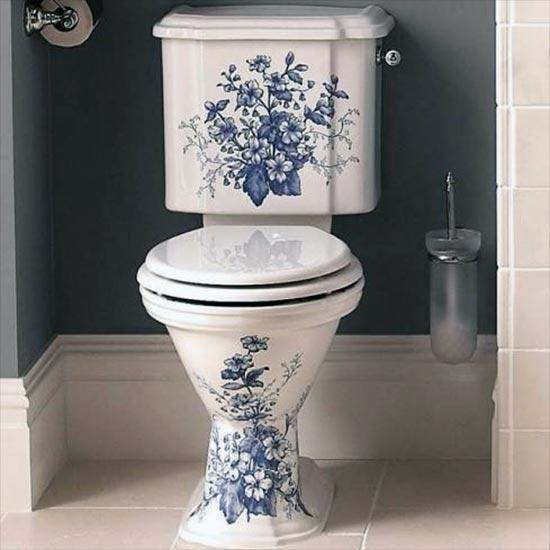 Pleasant Oxford Blue Decorated Close Coupled Toilet Creativecarmelina Interior Chair Design Creativecarmelinacom