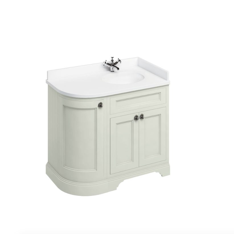 Burlington Freestanding 100 Curved Corner Vanity Unit Minerva White Top