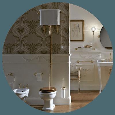 Graphic to show Art Deco toilet bathroom design.
