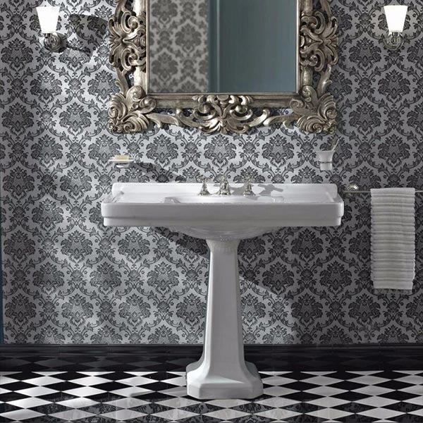 Graphic to show a fancy art deco bathroom.