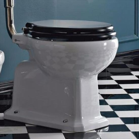Graphic to show Art Deco toilet featured stylish black and white flooring.
