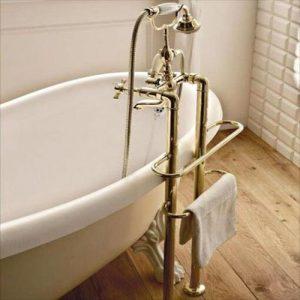 Antica Free Standing Bath Shower Mixer, Hose, Handset
