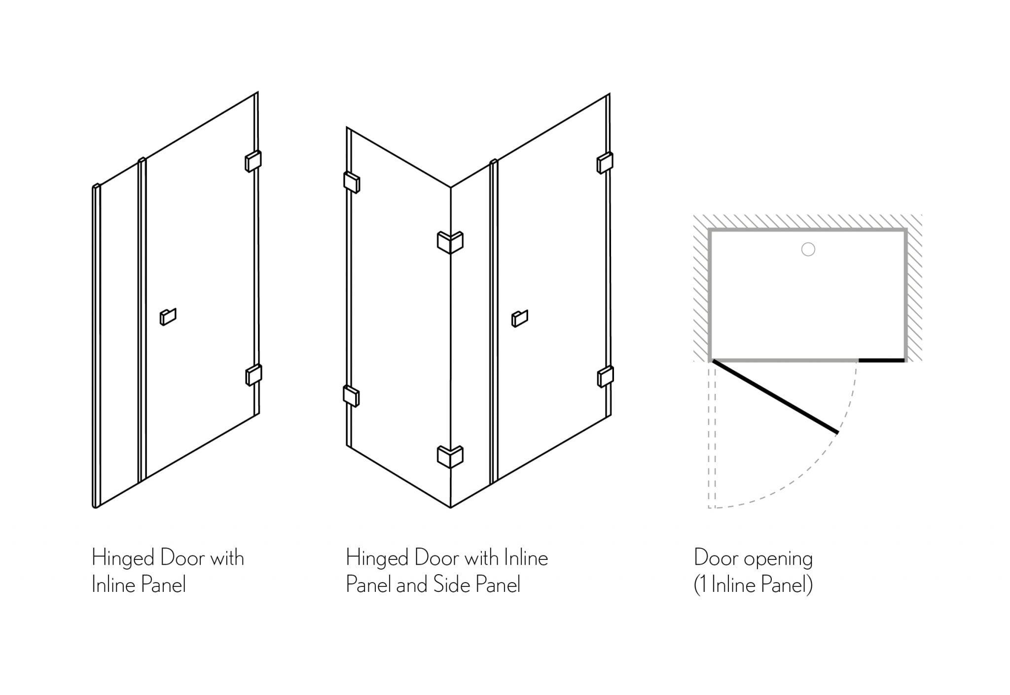 Crosswater Zion Hinged Shower Door With Inline Panel