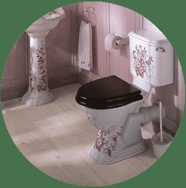 Decorated toilet in suite
