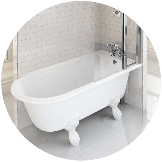 Freestanding bath with shower